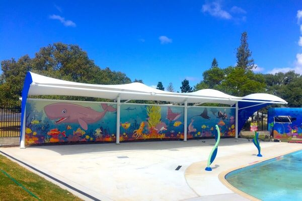 Printed Privacy Screen for Pool Area