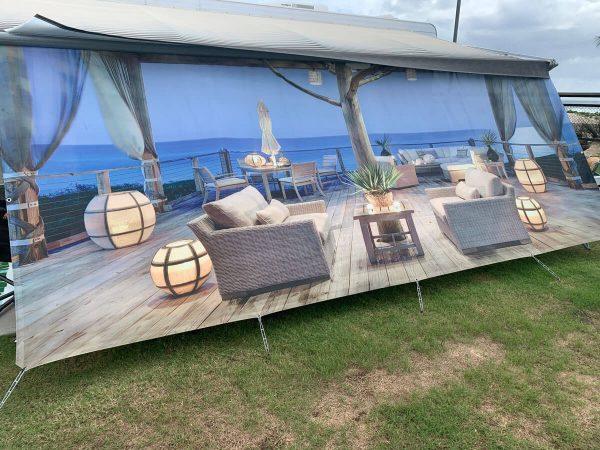 Van Tastic Printed Screens - Alfresco Beach Side Setting