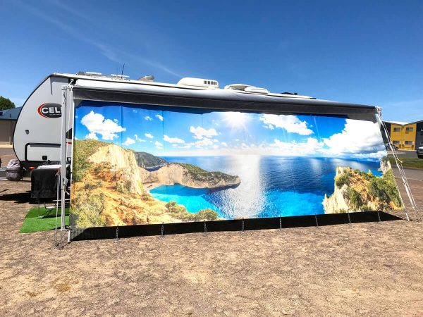 Van Tastic Printed Screens - Ocean Cliffs Scene
